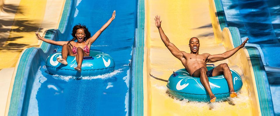 Image of people on water slide at Wet 'N Wild, Ushaka Marine World