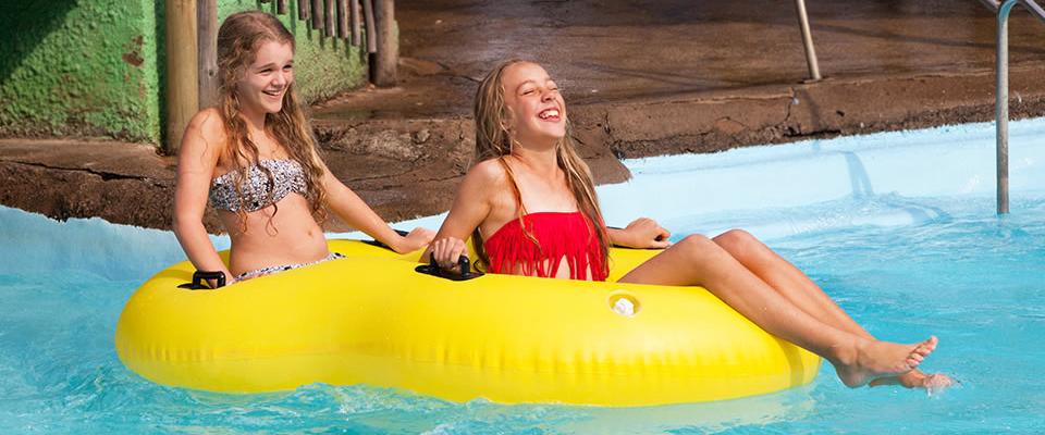 Image of two girls on tube at Splash Waterworld, Amanzimtoti