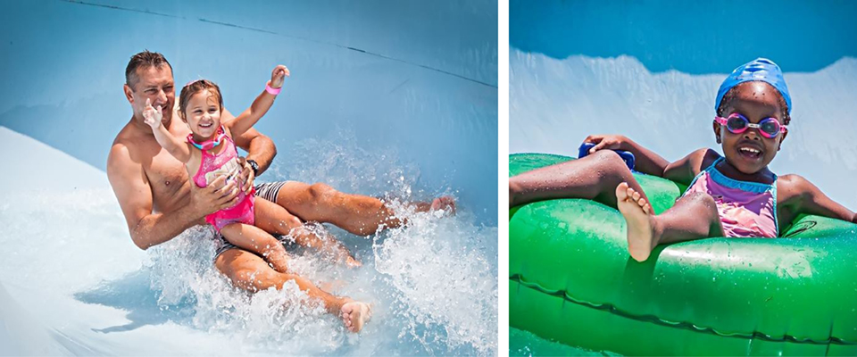 Image of dad and kids on tube at Splash Waterworld Port Elizabeth