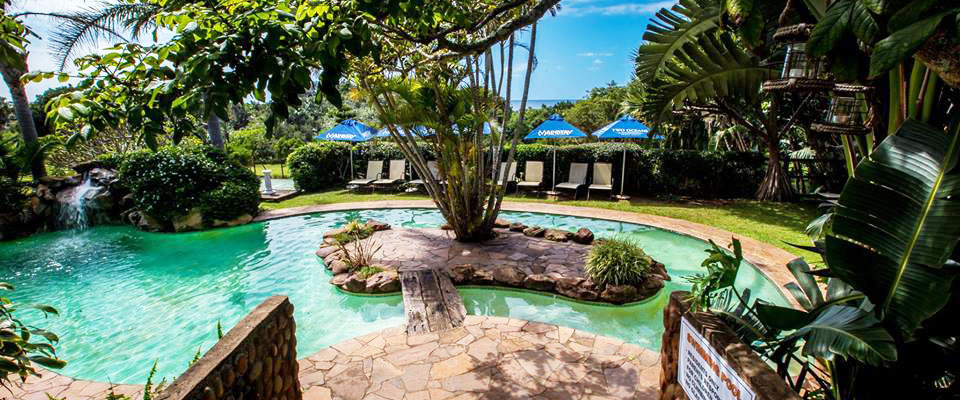 Image of pool and tropical vegetation at Trennerys Hotel